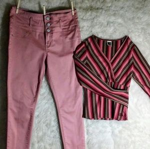 Light Pink High Waisted Skinny Jeans